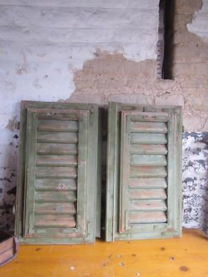 VINTAGE WOODEN SHUTTERS WINDOW  67x74.cml ANTIQUE FRENCH  RECLAIMED   FREE post