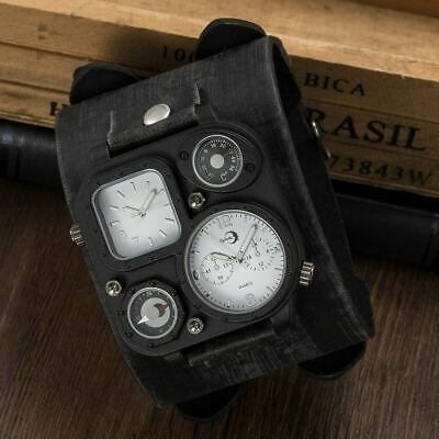 APHOTIC Dual Timezone Best Men/Women Watch Vintage Punk Leather Strap Watchmaker