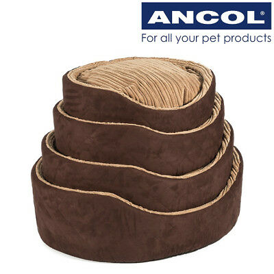 Ancol Dog Bed Soft Washable Warm Luxury Timberwolf Faux Suede Oval Pet Basket
