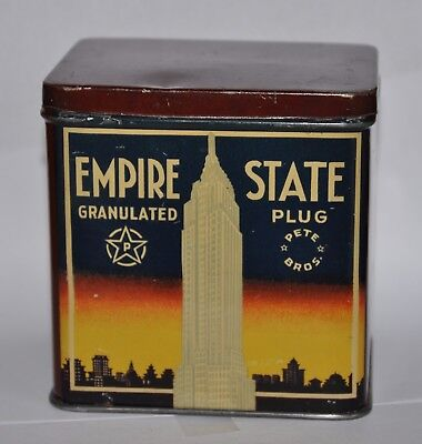 Tobacco tin   Tabak Dose    EMPIRE STATE  Granulated Plug   Vertical tin