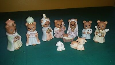 HOME INTERIORS HOMCO  10 PIECE BEAR NATIVITY   # 5412  Retired FIGURINES