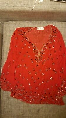 Red Embroidered Indian style tunic