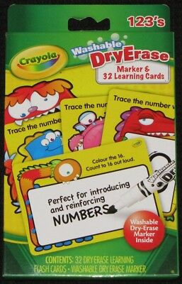 Crayola WASHABLE DRY ERASE MARKERS & 32 LEARNING CARDS - NUMBERS *1 left*