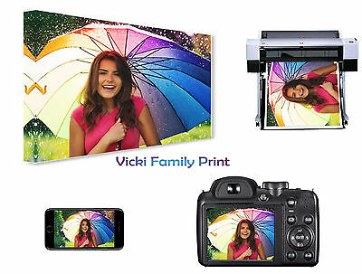 """PERSONALISED CANVAS PICTURE A4 9"""" x 12""""  FAMILY PHOTO GIFT PET 18mm Frame 280gsm"""