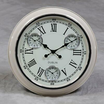 Large Cream w White Face Multi Dial Dublin Sydney Paris New York Wall Clock 50cm