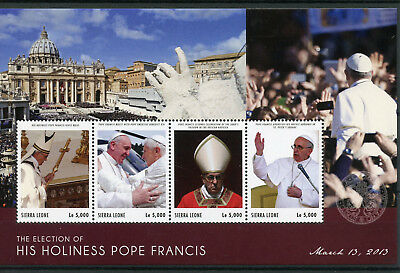 Sierra Leone 2013 MNH Election Pope Francis 4v M/S Popes Religion Stamps