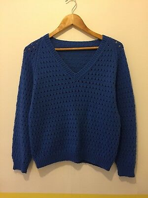 Vintage Blue Chunky Hand Knitted Jumper size 8-10