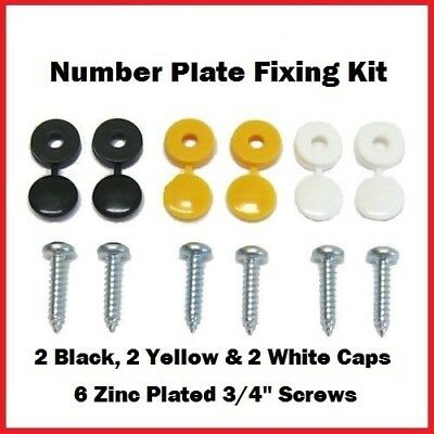 Number Plate Fixing Fitting Kit Qty 6 Hinge Caps & Screws White, Black & Yellow