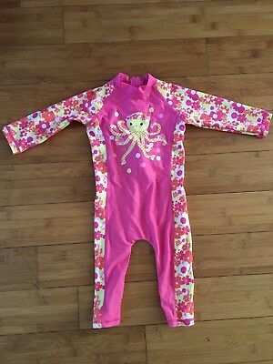 girls all in one swimsuit pink 12 - 18mths immaculate