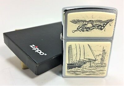 """Scrimshaw """"Land of the Free"""" Zippo Sealed Unfired in box 2002"""