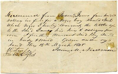 1848 Slave Purchase Bill Of Sale !