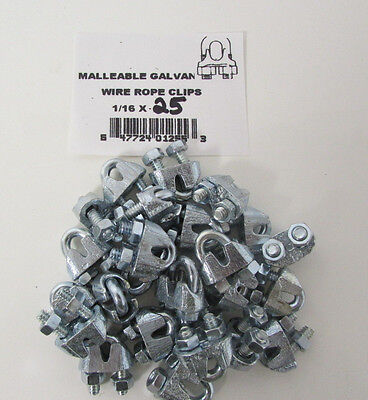 """Wire Rope Clips 1/16"""" Malleable Galvanized Lot of 25 NEW J73"""