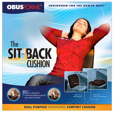 Obusforme The Sit-Back Cushion, Black ––  New & Free Shipping.
