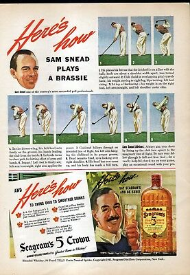 1941 Seagram's 5 Crown  Ad - Sam Snead