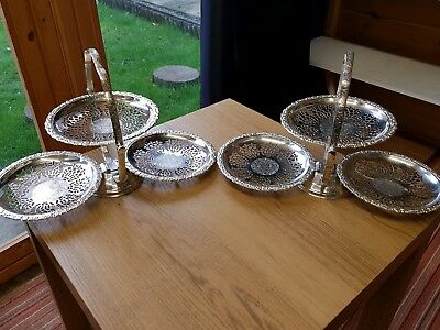 A matching pair of beautiful vintage silver plated 3 teir cake stands.ornate.