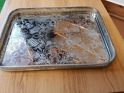 A beautiful vintage silver plated on copper gallery tray.made in england