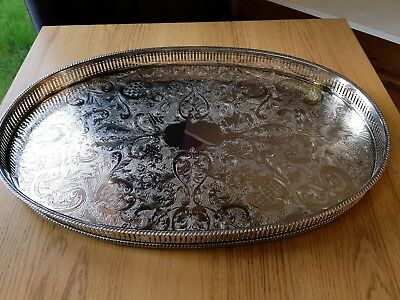 A beautiful vintage silver plated gallery tray with engraved patterns.sheffield