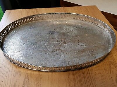 An elegant vintage silver plated on copper gallery serving tray.sheffield
