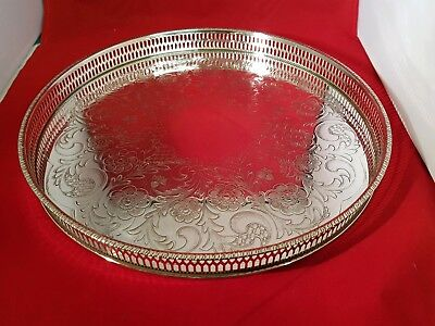 A beautiful vintage chased silver plated gallery tray.viners of sheffield.