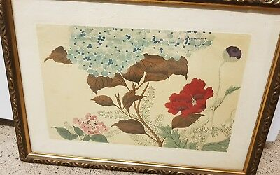 Antique Japanese print: Tranquil Flowers