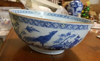 Large Antique Chinese Blue and White Porcelain Bowl KANGXI 19th C