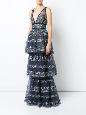 184d447d $1195 NEW MARCHESA NOTTE Butterfly Embroidery Layered Gown Dress Navy Blue  6 10