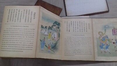 antique wooden cover album with ten Chinese paintings on silk and stories