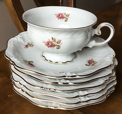 2 Sets Vintage Eschenbach footed cups and saucers Briar Moss Rose $10.00 each