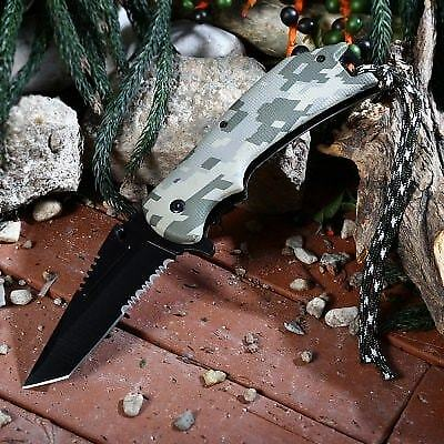 PA65 Liner Locking Pocket Knife with Survival Blades-CAMOUFLAGE