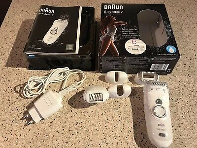 Braun Silk Epil 7 Wet And Dry Epilator With 6 Extras 7561 Used Once
