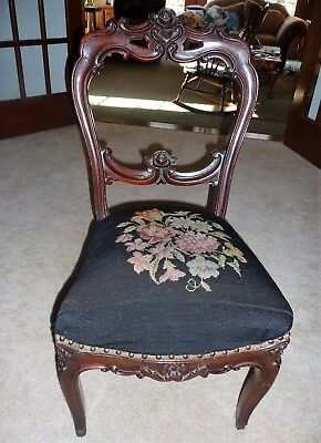 Antique VICTORIAN Needlepoint Balloon Back Carved Parlor Side Chair