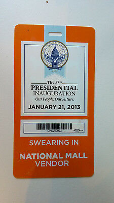 The 57th Presidential Inauguration 2013 National Mall Vendor Badge - Obama