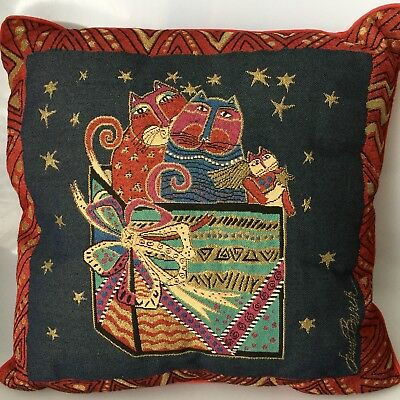 Laurel Burch Decor Pillow Surprise Box Cats Feline Tapestry Christmas 18 Inch