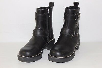 95d8abcaa84e HD Harley Davidson Womens 8 Black Leather Zip Up Motorcycle Riding Boots  84009