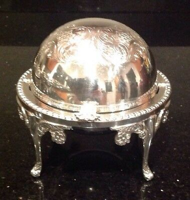 Vintage Silver Plated Turn Over Butter Dish With Glass Liner Perfect Condition