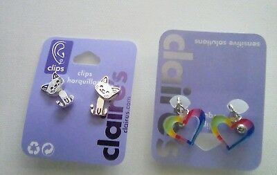 NEW Girl's Jewelry Claire's CLIP BACK EARRINGS Rainbow Hearts & Cats Lot J10