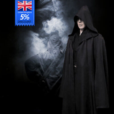 Adult Mens Hooded Robe Cloak Cape Halloween Vampire Cosplay Costume Black S-XXL