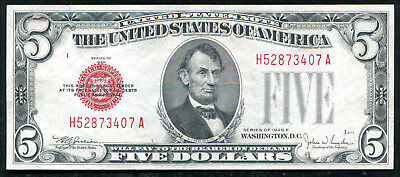 1928-E $5 Five Dollars Red Seal Legal Tender United States Note About Unc