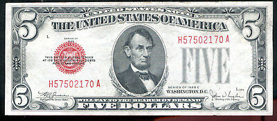 1928-E $5 Five Dollars Red Seal Legal Tender United States Note About Unc (B)