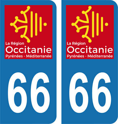Département 66 - 2 autocollants style immatriculation AUTO PLAQUE OCCITANIE 2018