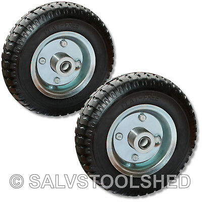 "8"" Solid Rubber Wheels Trolley 2pcs Flat Free Puncture Proof Tire Tyre 16mm Bore"