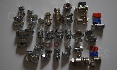 Brass compression fittings chrome plated/12mm/15mm/22mm/35mm/42mm copper pipe
