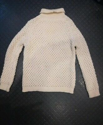 Vintage Cream Chunky  Hand Knitted Wool Polo Neck Jumper