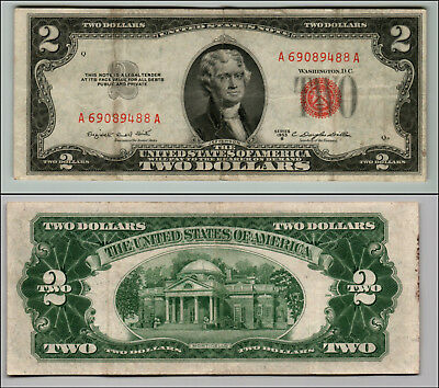 (1)-1953B  Series United States Note Red Seal $2 Two Dollar Bill  LT Q 855