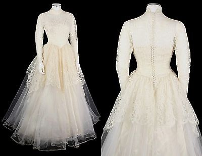 VTG 1950s ALFRED ANGELO EDYTHE VINCENT CHANTILLY LACE TULLE WEDDING GOWN SZ XS