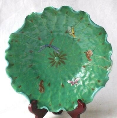 C19Th Japanese Green Pottery Dish With Insects And A Snake On The Base