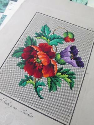 Antique Hand Painted Berlin Woolwork Embroidery Chart- Grunthals Verlag- Poppies