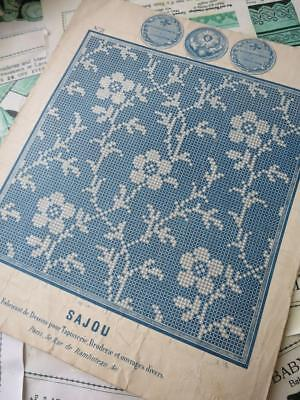 Antique Sajou Crochet Embroidery Chart- All Over Flowers