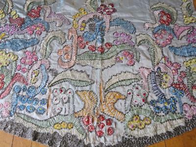 Unusual Antique Silk Hand Embroidered & Beaded Skirt Panel