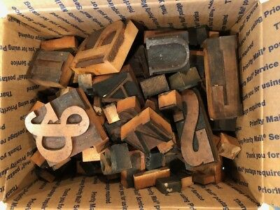 Vintage Letterpress  wooden type - over 100 pieces (box 1)